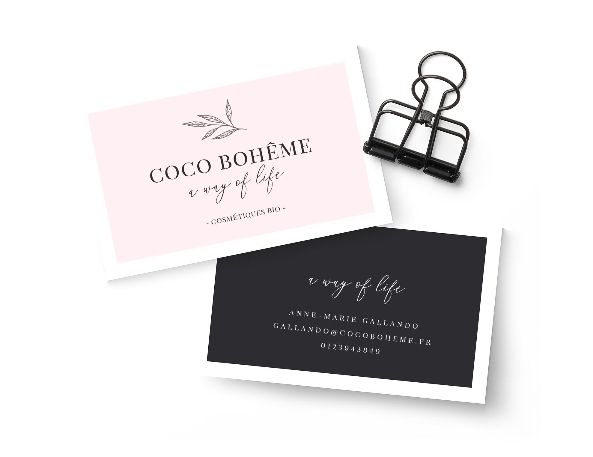création carte commerciale Coco Bohême